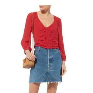 Intermix Lillian Red Shirred Top 100% Silk